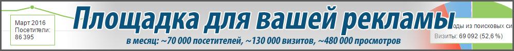 Площадка для рекламы на сайте Скиф 4х4. В месяц 70000 посетителей, 130000 визитов, 480000 просмотров.